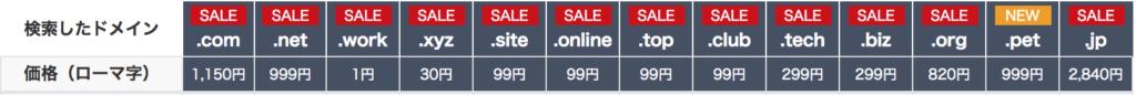 お名前.comのドメイン料金