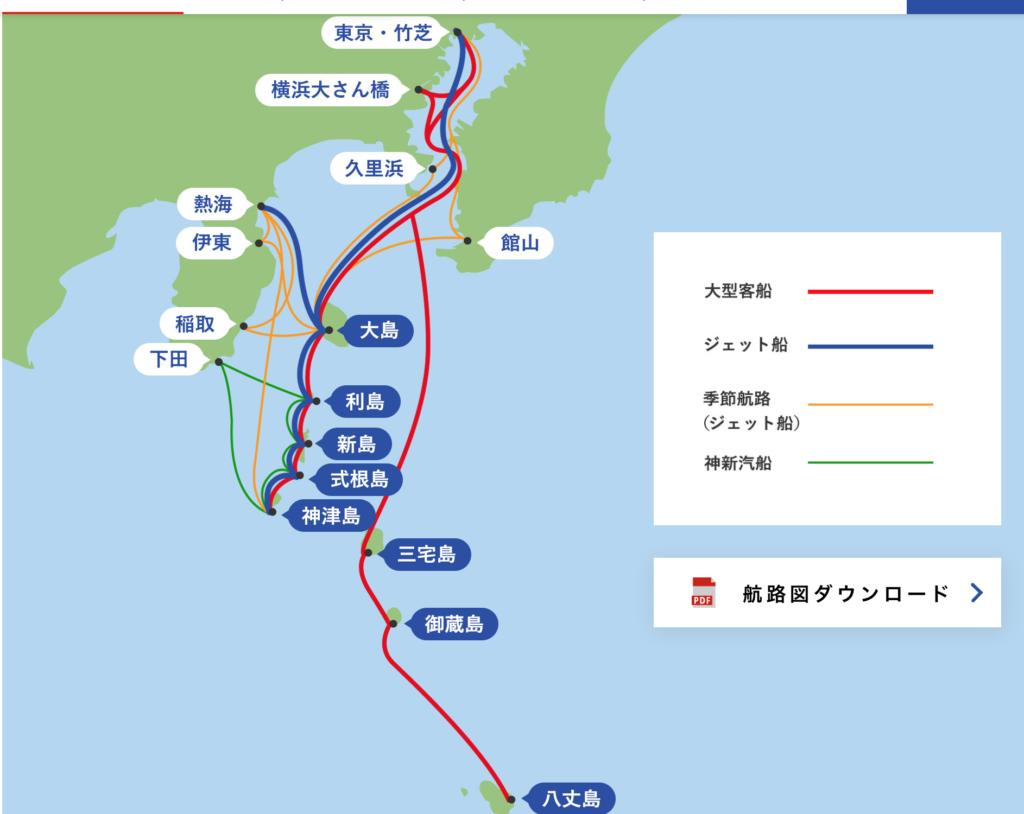 東海汽船運行図